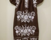 70's Vintage Brown Mexican Dress with White Embroidery