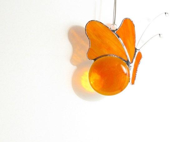 Stained Glass Suncatcher: Orange Butterfly