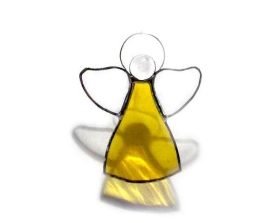 RESERVED FOR GIANNABIO Yellow Little Angel Stained Glass Suncatcher