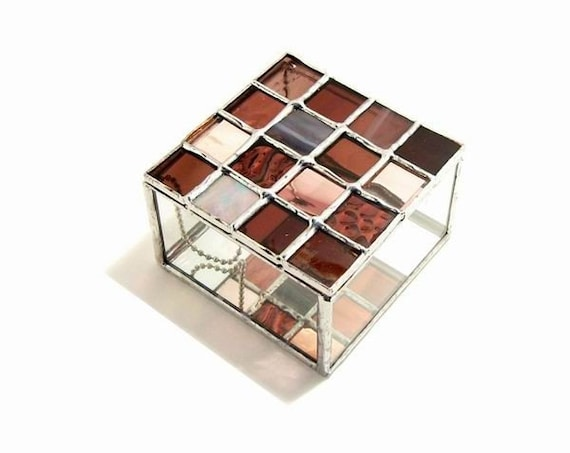 Burgundy Stained Glass Box Square