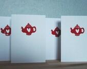 set of four tea-love cards