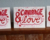courage and love lino print card