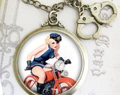 Pinup Police Woman Handcuff Necklace Retro...In Hot Pursuit