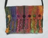 Handwoven Clutch Bag with Braids and Felt Balls Multicolored Silk and Cotton