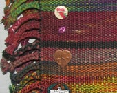 Handwoven Hand Dyed Silk and Cotton Bag with Heart Charms Multicolor