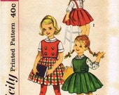 1950's Simplicity 3614 Vintage Sewing Pattern Girls Blouse Top Skirt Size 6