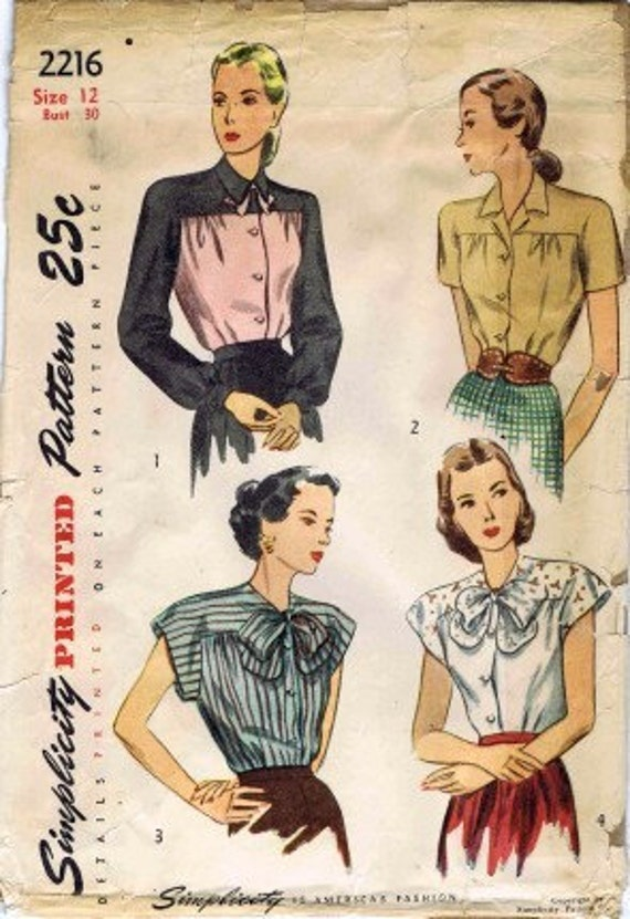 1940's Simplicity 2216 Womens Front Button Blouse Vintage Sewing Pattern Size 12 Bust 30