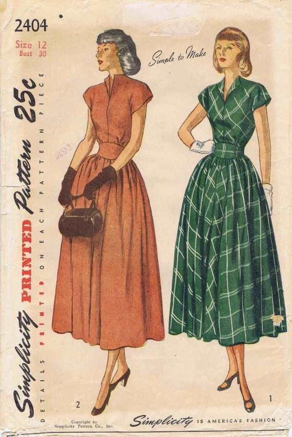 Simplicity 2404 1940's Womens Dress Gathered Skirt Revers Inset Belt Misses Vintage Sewing Pattern Size 12 Bust 30