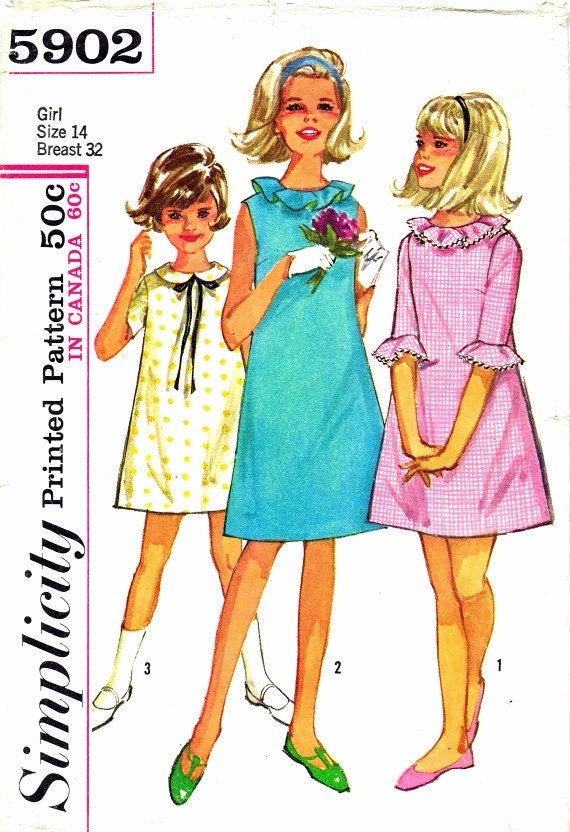 Girls A-line Dress 1960's Simplicity 5902 Vintage Sewing Pattern Size 14