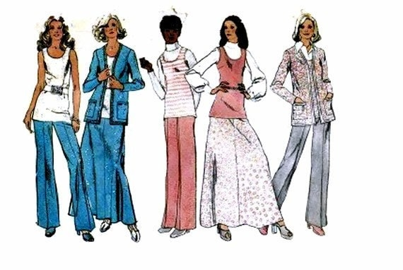 1970s Simplicity 5357 Misses Pattern Cardigan Jacket Skirt Pants Womens Vintage Sewing Pattern Full Figure Size 20 Bust 42 UNCUT