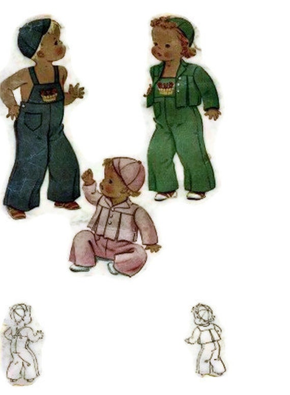McCall 832 Toddlers 1940s Overalls Pattern Suspenders Jacket Cap Hat Childrens Vintage Sewing Pattern Size 1