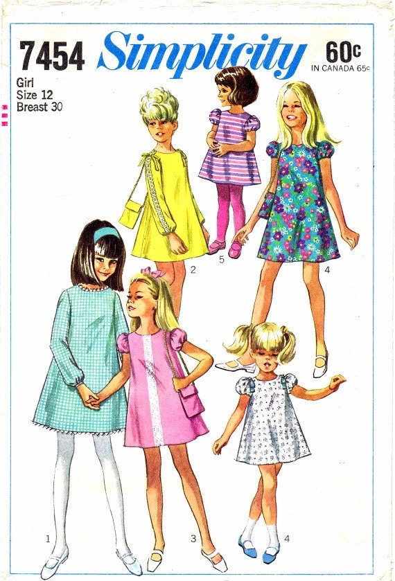 1960s Simplicity 7454 Pattern Girls Dress Collarless Round Neck Back Zipped Lace Insert Vintage Sewing Pattern Size 12