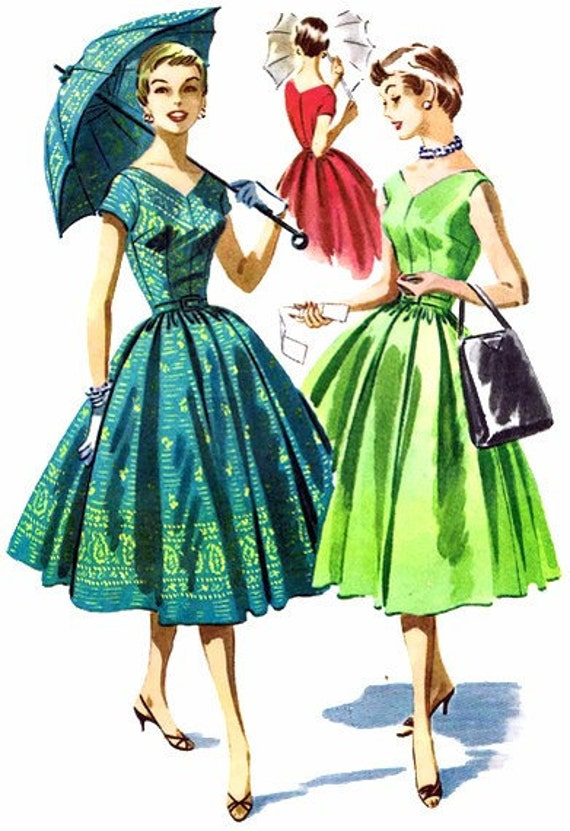 McCall's 3528 Womens 1950's V-Neck Full Skirt Dress V-Back Border Prints Sleeveless Pleats Misses Vintage Sewing Pattern Size 16 Bust 36