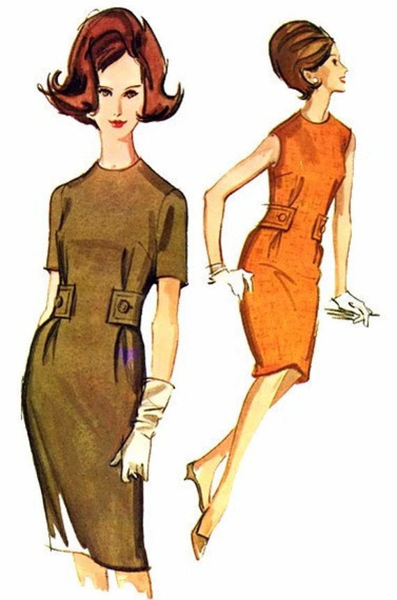1960's McCall's 6608 Womens Sheath Dress Vintage Sewing Pattern Size 12 Bust 32