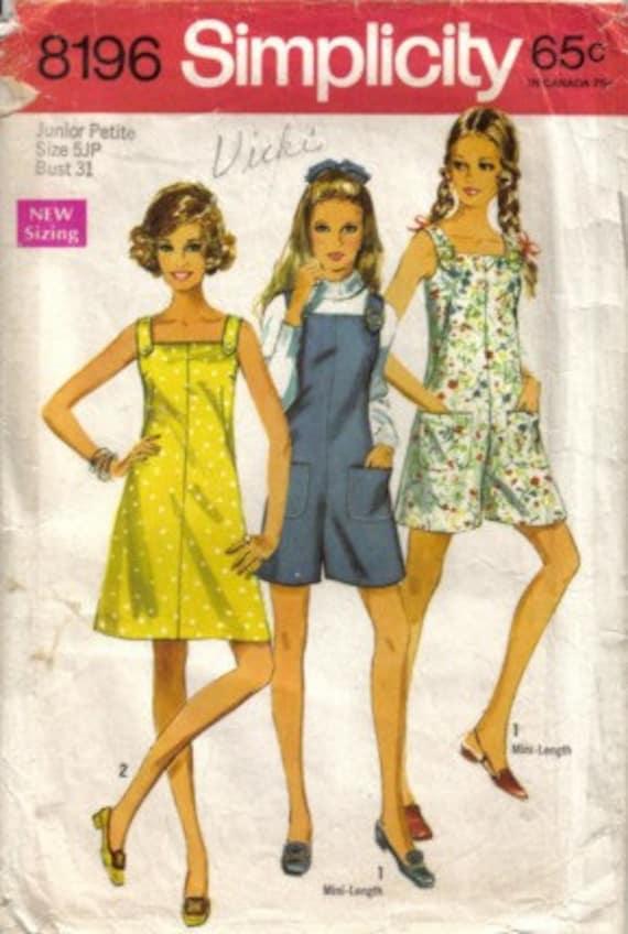 Vintage 60s Junior Petite Mini Pantdress Pantjumper Simplicity Sewing Pattern Size 5 JP