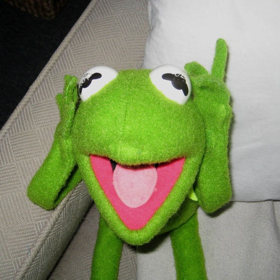 Kermit the Frog with velcro hands and feet- vintage