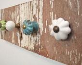 jewelry holder,  shabby jewelry display, reclaimed wood necklace holder, jewelry knob rack.