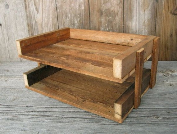 RECLAIMED  wood file tray, desk file holder / office tray