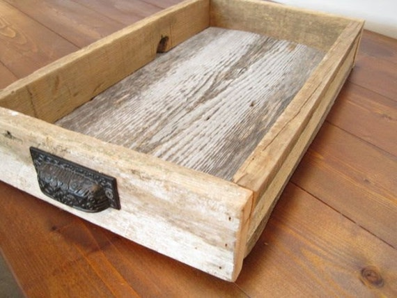 RESERVED for Rebecca / / / reclaimed wood tray / barn wood serving tray, 3 barn wood box with custom handles