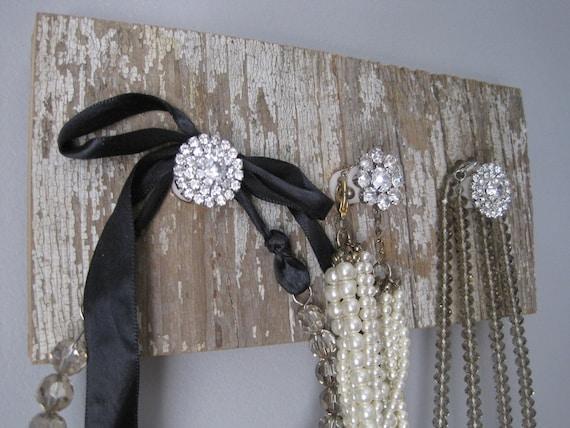 jewelry holder,  shabby jewelry display, reclaimed wood necklace holder, jewelry hook rack.