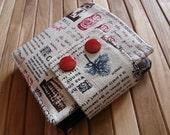 Handmade ladies wallet -  red double snap wallet - newsprint wallet - billfold wallet