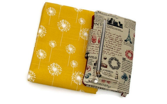 Yellow dandelion wallet - passport holder -  ID window - Travel organizer -  wristlet - smartphone wallet - iphone wristlet - vegan