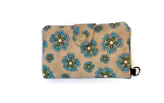 Floral Cellphone wallet - w/o wristlet - iphone 4s - passport wallet - ID wallet - blue - sim slots - Android - Galaxy - Nexus - USB