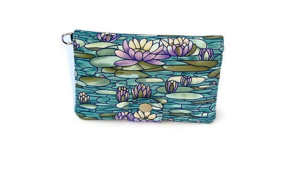 Water lily  Cellphone wallet - w/o wristlet - iphone 4s - passport wallet - ID wallet - sim slots zippered- Galaxy - Nexus - USB