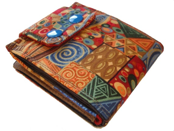 RESERVED FOR HIM Klimt Art inspired wallet blue double snap Expandable change area