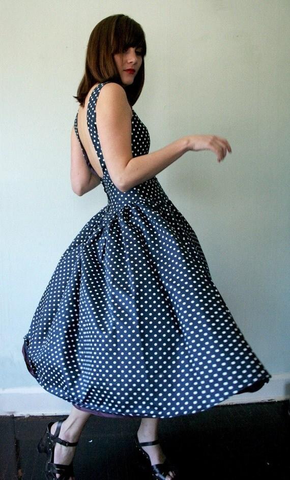 Vintage Polka Dot Circle Skirt Dress w/ Low Back Size Small Medium