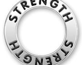 Super SALE Sterling Silver Affirmation Circle Charm STRENGTH