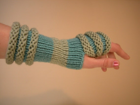Mint Green and Light Blue Arm Warmers \/ Fingerless Gloves