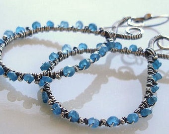 Blue Gemstones  Wire Wrapped Earrings Sterling Silver Apatite Hoop Earrings On Sale