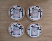 Bird Cage  -  Super Strong Magnets OR Push Pins - Set of 4