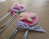 Set of 2 - Giant Paper Clip Bookmarks - Spring Butterflies on Pink and Purple