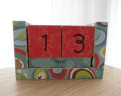 Perpetual Wooden Block Calendar - Turquoise and Red- Birds and Spring Flowers