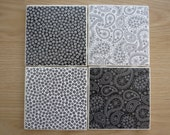 Old Fashioned Cameras and Black and White Paisley and Daisy Tile Coasters - Set of 4 - Ready to Ship