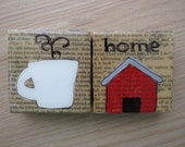 Home and Steaming Coffee Mug - Original Art - Wooden Blocks