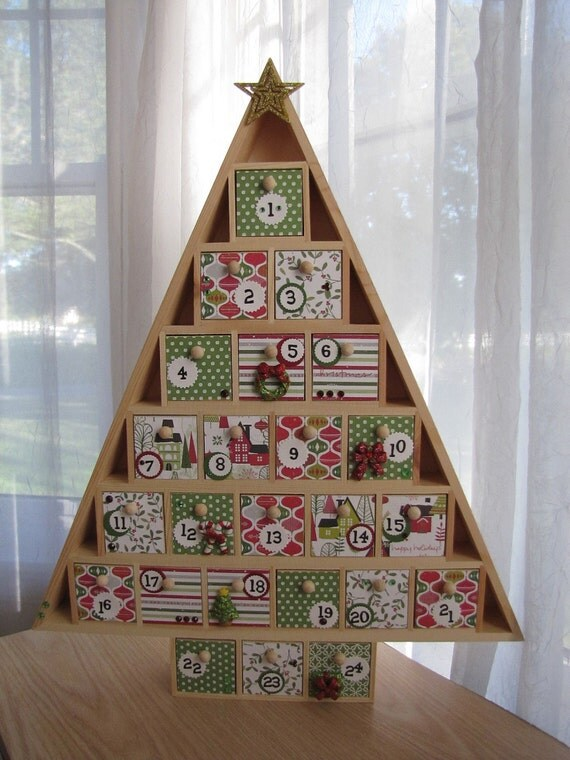 christmas tree advent calendar wooden drawers red and