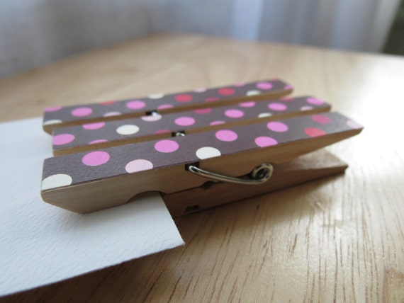 Retro Polka Dots - Clothespin Clips - Brown, Pink, Red, Magenta - Set of 6