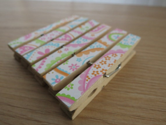 Set of 6 - Decoupaged Clothespins Clips - Colorful Paisleys and Spring Flowers