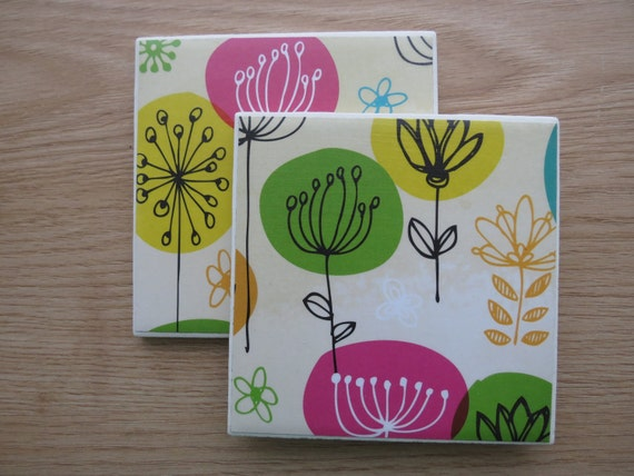 Tile Drink Coasters Fun Watercolor Doodle By