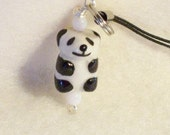 Panda Bear Cell Phone, zipper pull Charm
