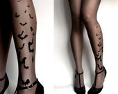 brand new color Grey sexy BATS tattoo THIGH HIGH stockings / nylons