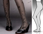 Large/XLarge fabulous FOREST SYMPHONY tattoo stockings / full length / pantyhose / nylons GREY