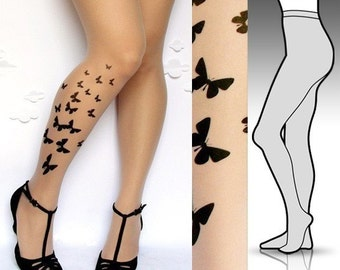Large/ Extra Large sexy BUTTERFLY tattoo tights / stockings full length pantyhose ULTRA PALE