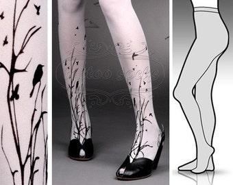 Small/ Medium fabulous FOREST SYMPHONY tattoo stockings / full length / pantyhose / nylons WHITE