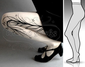 new: Small/Medium sexy white Long Branches  tattoo tights / stockings full length pantyhose
