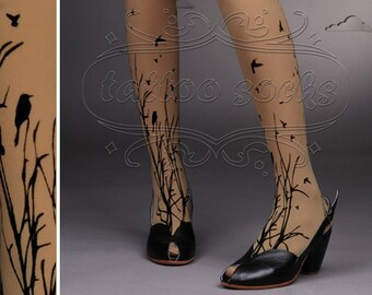 fabulous FOREST SYMPHONY tattoo thigh-high nylons Cafe Latte