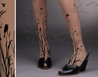 fabulous FOREST SYMPHONY tattoo thigh-high nylons Deep Mocha